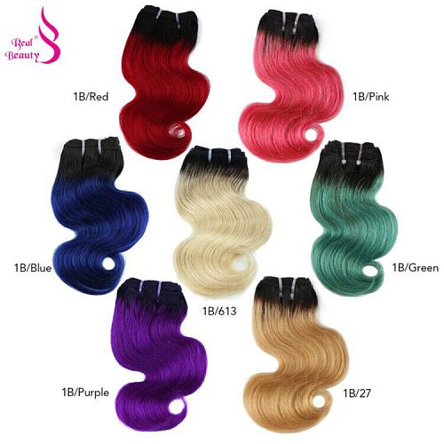 Real Beauty Brazilian Body Wave Hair Weave 50G Bundles Human Hair Extensions Remy Hair Ombre Blond Red Blue Pink Short Bob Style