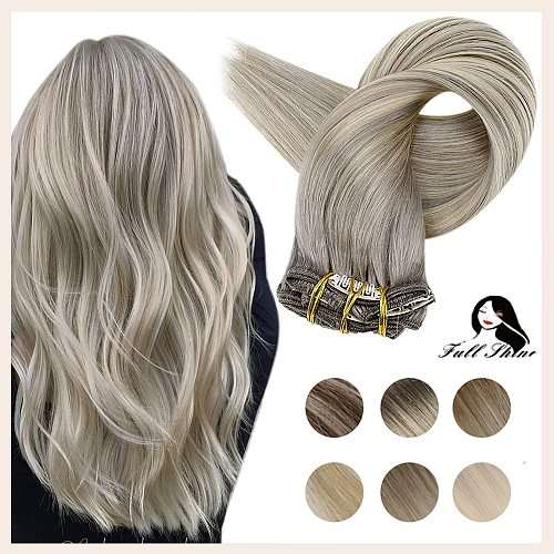 Full Shine Clip in Human Hair Extensions Balayage Ombre Color Hairpins 7-10Pcs 100g Double Weft 100% Machine Remy Natural Hair