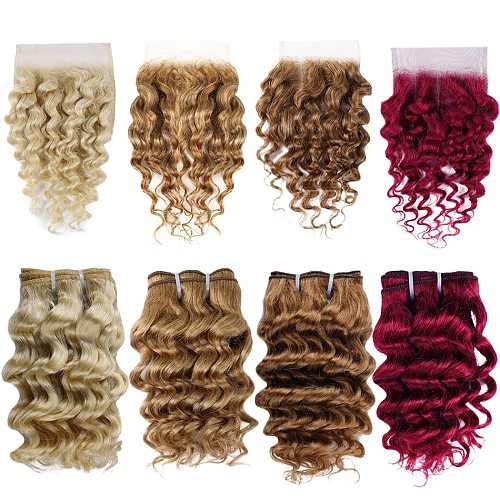 Real Beauty Brazilian Deep Wave Remy Human Hair Bundles With Lace Closure Colored 99J Hair Red Burgundy 4 Bundles With Closure