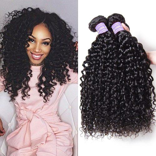 Curly Hair Bundles 1/3/4 PCS Remy Human Hair Brazilian Hair Weave Bundles 8-26 Inch Natural Black Human Hair Extension Longqi