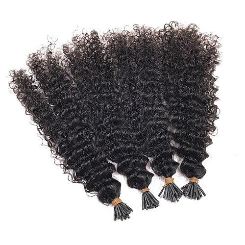 Brazilian Kinky Curly Microlinks I Tip Human Hair Extensions Hair Bulk For Women Natural Color 1/2/3 Bundles Virgin Hair