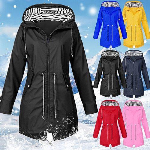2021 Women's Raincoat Transition Jacket Sunset Long Autumn Winter Rain Coat Hiking Jacket Outdoor Camping Windproof Jacket Coats