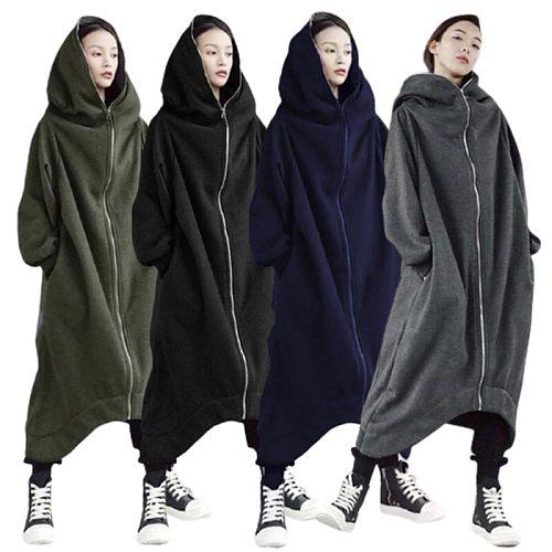 2021 Fashionable Men And Women Long Sleeve Hooded Coat Zipper Closure Fleece Lined Long Hoodie Hot Sale Dropshipping