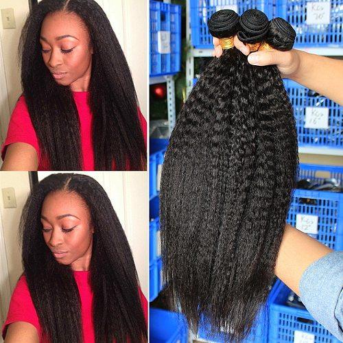 Kinky Straight Hair Brazilian Virgin Hair Weave Bundles Coarse Yaki 100% Human Hair 2&3 Bundles With Closure Dolago Extensions