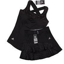 Female Lotus leaf Tennis Skorts Built-in Safety Shorts, Girls Yoga Gym Sport Running Vest, Women's Badminton Skirts With Pocket