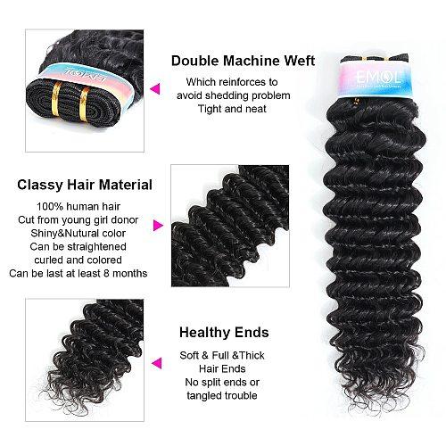 EMOL Brazilian Human Hair Deep Wave Bundles For Women Hair 1/3/4 pcs 100% Human Hair Extension With Free Gifts Vendors Wholesale