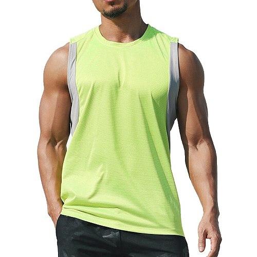 2020 Newest Men Running Vest Polyester Workout T-shirt Quick Dry Sports Tank Tops Men Solid Loose Tees  Bodybuilding Vest M-XXXL