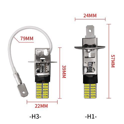2pcs 24led 4014 SMD H1 LED H3 LED Car LED Bulb Replacement Auto Fog Lamp Driving Daytime Running light White For DC 12V