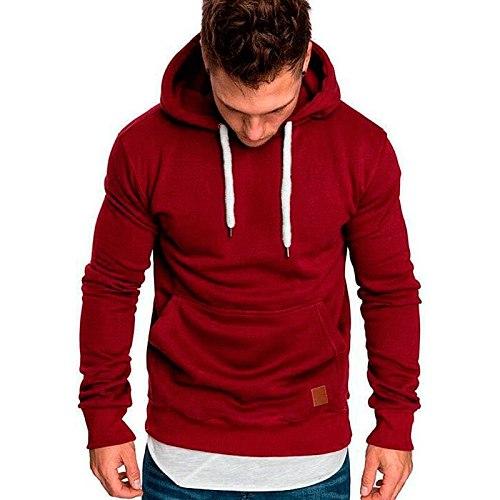 Mans Fleece Winter Warm Skateboard Sport Hoody Sweatshirts Fashion Hip Hop Streetwear Hoodies Men's Clothes Solid Color Tops New