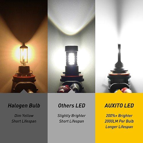 AUXITO 2x H8 H11 H16 LED Canbus H10 9145 9140 Led Fog Light Daytime Running Light DRL 6000k White 3000k Golden Yellow 12V 24V