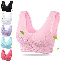 Sports Bra Lingerie Lace Solid Color Cross Side Buckle Without Rims Gathered Sports Underwear Sleep Bra New