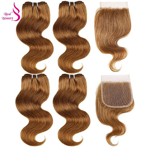 Real Beauty Brazilian 99J Hair Red Burgundy Bundles With Closure Colorful Body Wave Remy Human Hair Bundles With Lac Closure #27