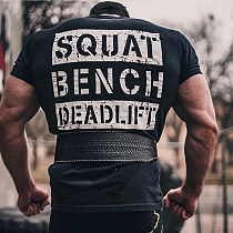 Gym Fitness Printed t shirt Men Running Sport T-shirt Bodybuilding Cotton Tee shirt Tops Summer Male Training Crossfit Clothing