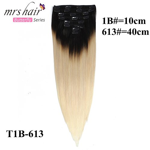 MRS HAIR Ombre Colors 150g 20  Clip In Human Hair Extensions Full Head NonRemy 100% Human Hair 8pcs/set Clip Ins Straight