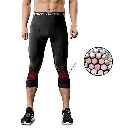 Men's Running Tight Pants With Honeycomb Anti-collision Knee Pads Sports Fitness Leggings Men Training Compression Pants 3/4