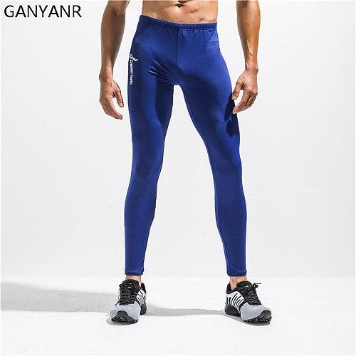 GANYANR Running Tights Men Compression Pants Sport Leggings Yoga Basketball Gym Fitness quick dry Slim Long Athletic Jogging