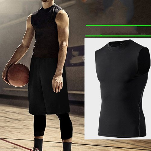 2020 New Men Compression Quick Drying T-Shirt Vest Sleeveless Stretch Gym Sports Tank Tops