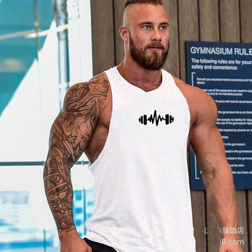 Muscle Dragon print cotton sleeveless shirts tank top men Fitness shirt mens singlet Bodybuilding workout gym vest fitness