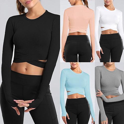 2021 Frauen Langarm Laufen Shirts  Ausgesetzt Nabel Yoga T-shirt Solide Sport Shirts Quick Dry Fitness Gym Crop Top Sport tragen