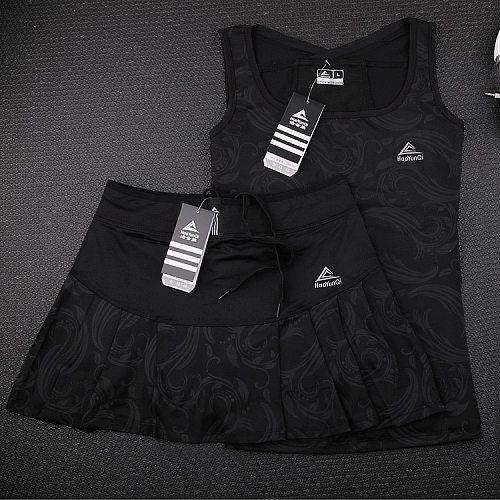 High Qaulity Tennis Skorts with Safety Short For Girls , Women's Badminton Skirts Vest, Female High Elastic Waist Stretch Skirt