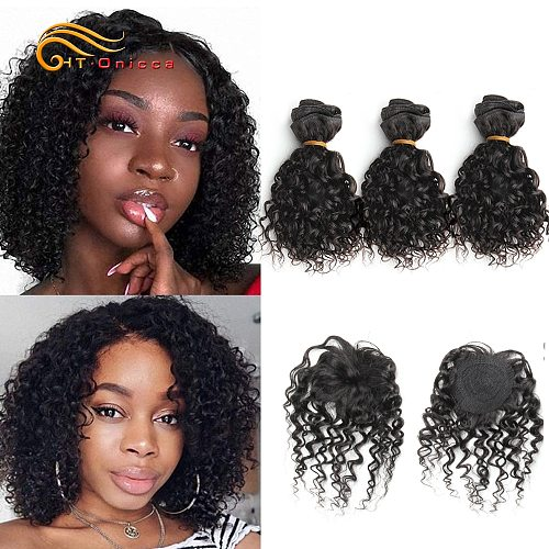 Indian Kinky Curly Hair Bundles 8  Inch Curly Human Hair bundles With Closure 4pcs/Lot Hair Extensions Natural Color 110g