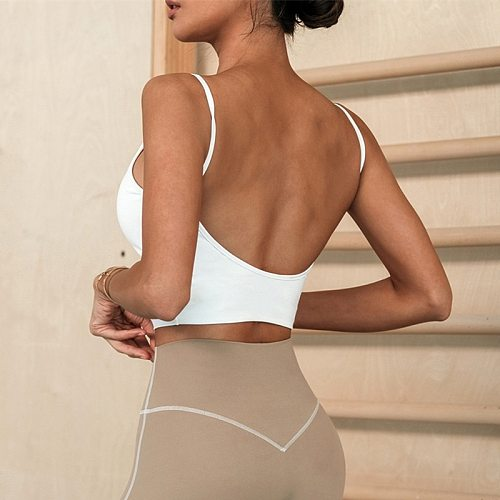 Summer New Running Fitness Sleeveless Sports Vest Female Backless Quick Dry Sexy Gathered Yoga Camisole With Chest Pad