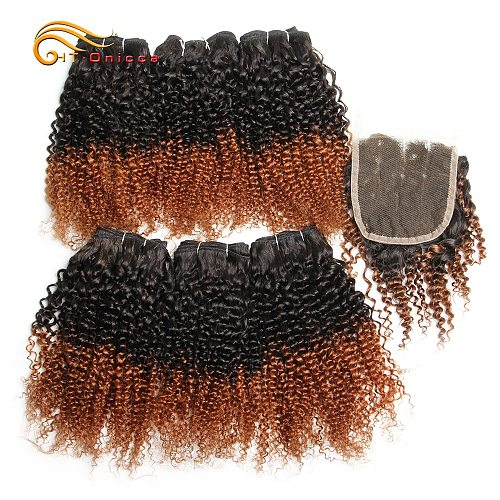 Brazilian Curly Hair Bundles With Closure Human Hair 6 Bundles With Closure Jerry Curl Ombre Bundles With Closure