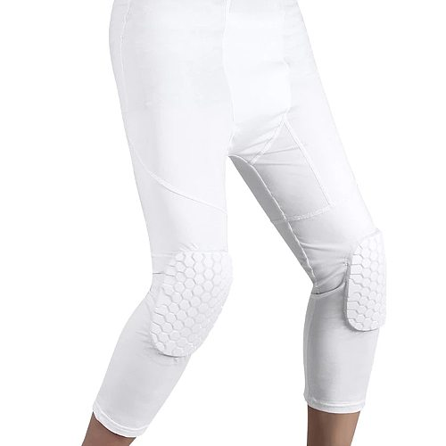 Men's Safety Crash Pants Sports Compression Pants Basketball Training Cropped Leggings With Knee Pads