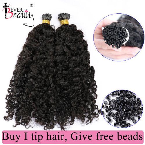 Mongolian Kinky Curly I Tip Microlinks Human Hair Extensions For Black Women Virgin Hair Bulk Hair Natural Black Ever Beauty