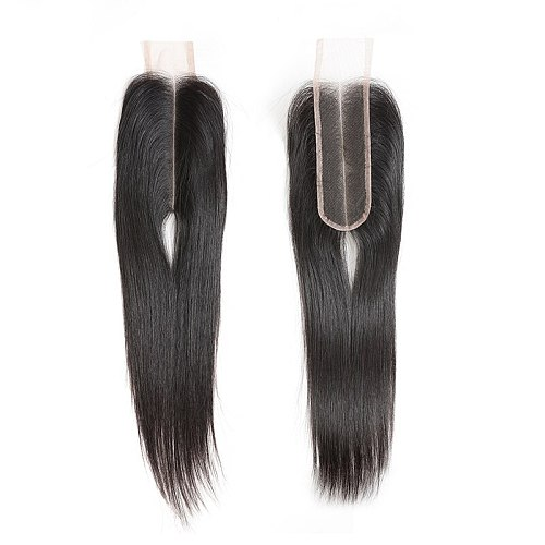 Ali Queen Raw Virgin Human Hair Lace Closure Brazilian Straight Hair Closure 2X6 Middle Part 10-20inch In Stock Natural Color