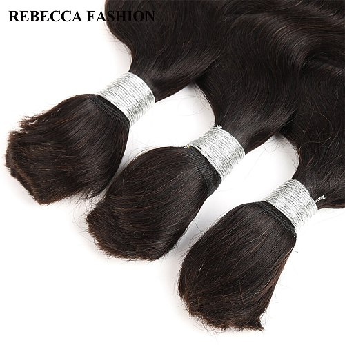 Rebecca Brazilian Remy Body Wave Bulk Human Hair For Braiding 3 Bundles Free Shipping 10 to 30 Inch Natural Color Extensions