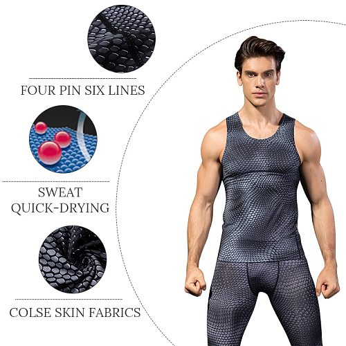 2020 Compression Fitness Tights Tank Top Men Quickly Dry Sleeveless Gym Clothing Workout Running Vest Sports Shirt Men
