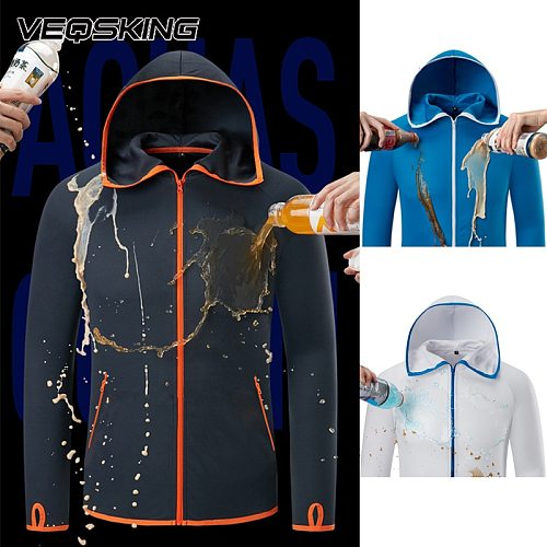Water repellent ice silk Hiking Jackets,Fishing anti-fouling Hydrophobic Hiking Clothing Casual Hooded Jacket Long Sleeve Shirts