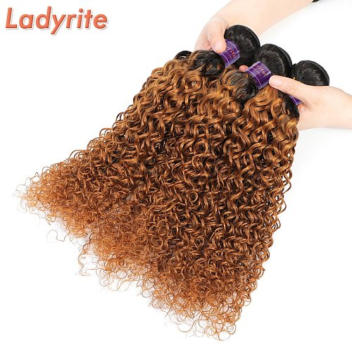 Ombre Brazilian Kinky Curly Hair Bundles Weave Remy Human Hair Extension 1B/30 Honey Blonde Ombre Hair Bundles 3/4 Pcs Ladyrite