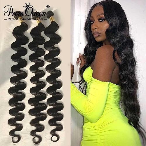 34 36 38 40 Inch Indian Virgin Hair Body Wave 100% Human Hair Bundles Promqueen 10A Grade Brazilian Hair Weave Bundles 1/3/4/PCS