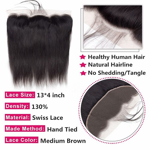 Bling Hair Brazilian Straight Hair 13x4 Lace Frontal Closure 100% Remy Human Hair Closure Free/Middle/Three Part Natural Color