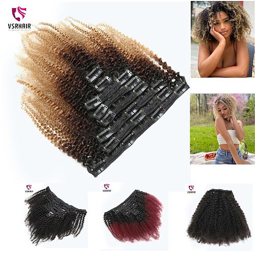 Clip Hair  Afro Kinky Curly Ombre T1B/27 Color 12-24Inch 18  8PCS 18Clips /Set 120Gram 100% Human Hair Clip In Hair Extensions