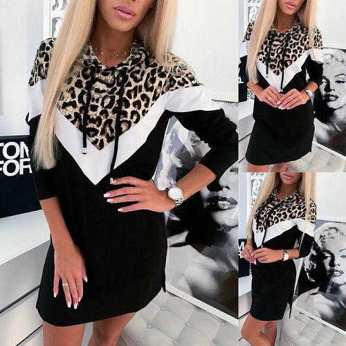 Women Ladies Leopard Print Hoodie Sweatshirt Pullover Sweater Jumper Casual Skateboarding Hooded Tops S-XL