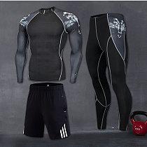 2020 New Sport Suit Men Long Sleeve T shirts Pants MMA Compression Running Set Men Bodybuilding Rashguard Gym Fitness Tracksuits
