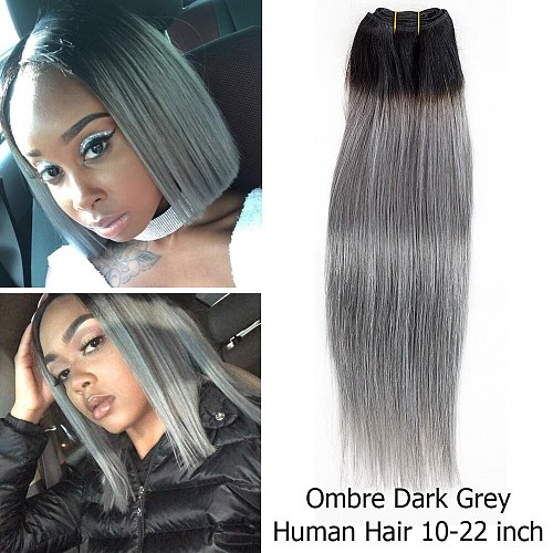 MOGUL HAIR Ombre 1B Grey Pink Straight Hair Weave Bundles Brazilian Hair 1 Bundle Remy Human Hair Extension 10-18 inch
