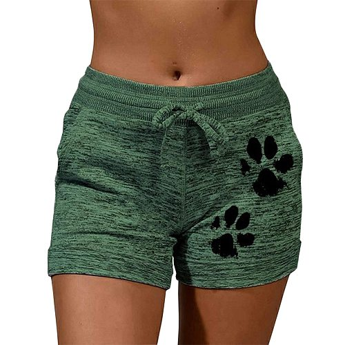 New Summer Drawstring Paw Print Shorts Female Elastic High Waist Loose Shorts Women Fashion Soft Cute Beach Casual Gym Shorts