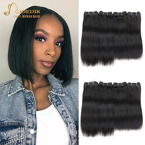 Brazilian Straight Hair Bundle 4Pcs One Pack 190 Gram Yaki Straight Weave Bundles Color 1 & 1B Joedir Non-Remy For Black Womem