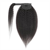 Halo Lady Beauty Kinky Straight Brazilian Human Hair Wrap Around Ponytail Clip in Pony Tail Extensions Non-Remy Yaki Hair