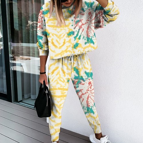 Jogging Suit Women Tracksuit Two Piece Tie-dye Printed lounge wear Set Long Sleeve Hoodie And Trousers Print Casual Sweatsuit