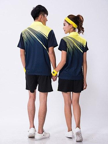 New  men badminton sport shirt,polyester breathable table tennis t-shirts+shorts,women pingpong/tenis shirts clohing sets