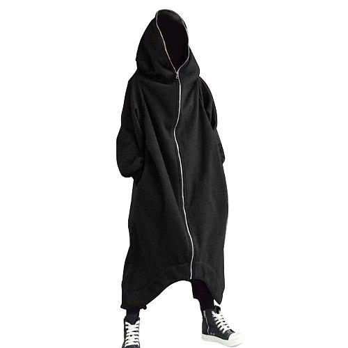Newly Unisex Long Sleeve Hooded Nazgul Long Coat Zipper Closure Fleece Lined Long Hoodie S66