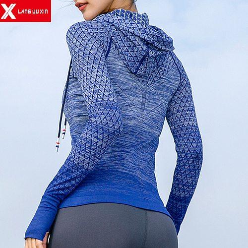 New Women Long Sleeves Sport Running Hoodies Casual Zipper Pocket Yoga Shirts Hooded Slim Fit Sweatshirt Jacket Coat