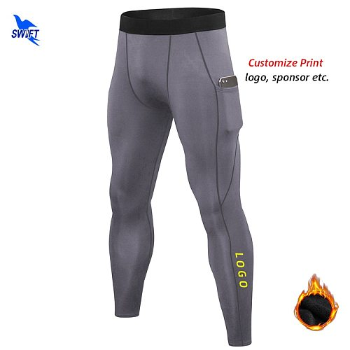 2020 Men Winter Fleece Stretch Running Pants with Pocket Quick Dry Gym Fitness Tights Sportswear Leggings Trousers Custom LOGO