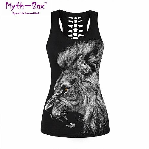 Women Fitness Jerseys Bad Cat 3D Print T-shirt O-neck Black Cut Out Gym Sport Tee Tops Sleeveless Tank Tops Vest Blouse For Yoga