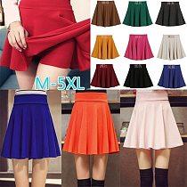 Women Sport Pleated Mini Skirt Candy Color Skater Tennis Skirt Uniform High Waist Short Skirt Safe for Badminton Cheerleader